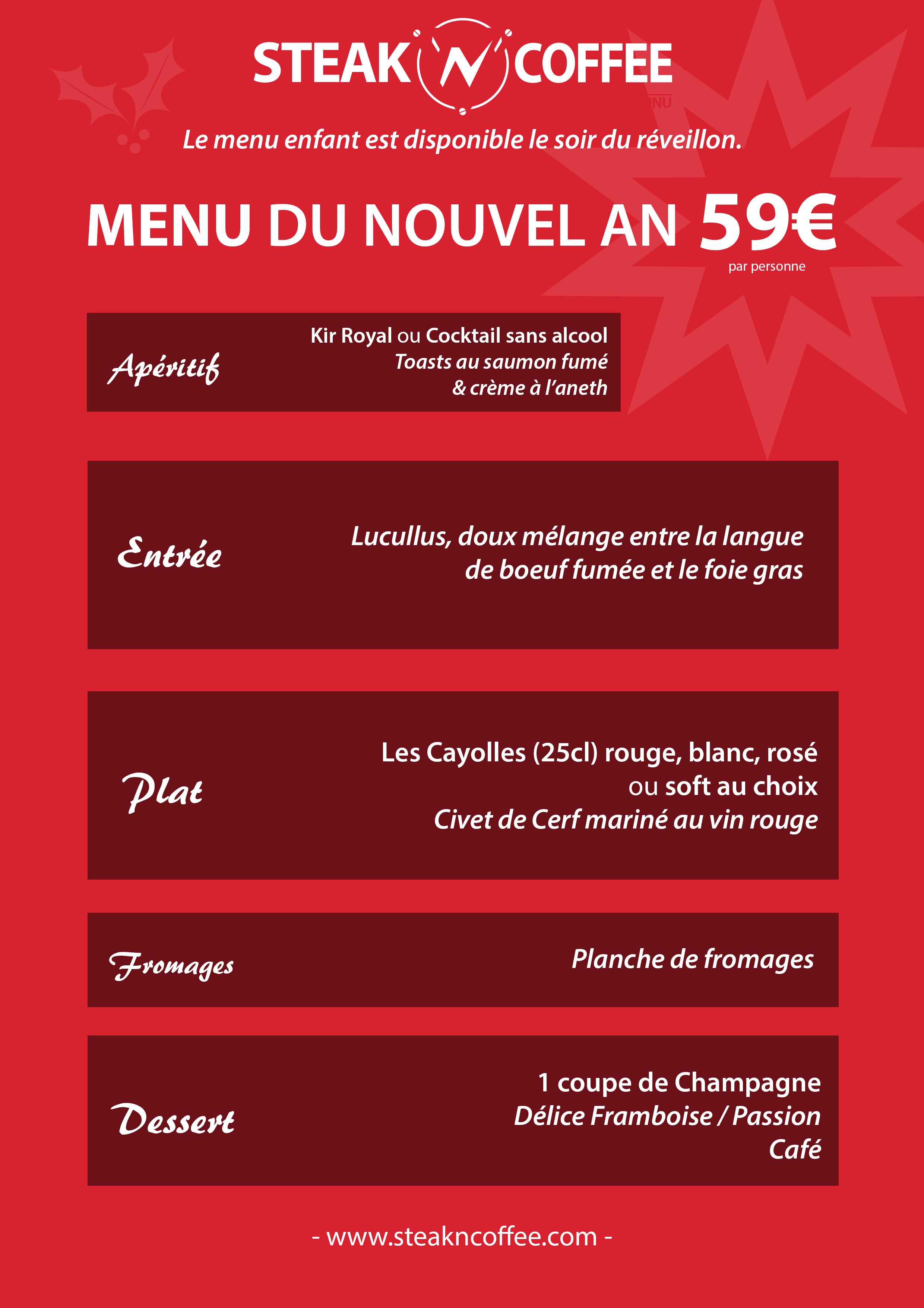 F tez no l et nouvel an chez steak n coffee steak n coffee bar resta - Restaurant lille reveillon nouvel an ...